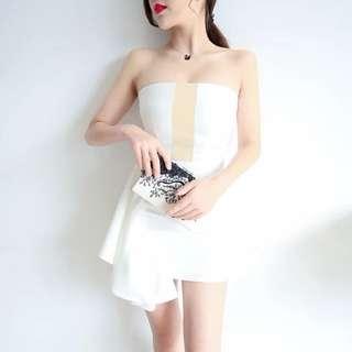 Minimei追加款✪韓系韓版名媛伴娘氣質性感抹胸一字領露肩修身顯瘦拼色小香包臀連衣裙