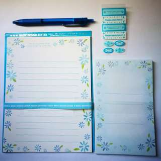 PRE💙D Basic Letter Design Blue Floral Stationery Set