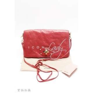 MIU MIU 紅色柔軟皮革 斜背袋 手袋
