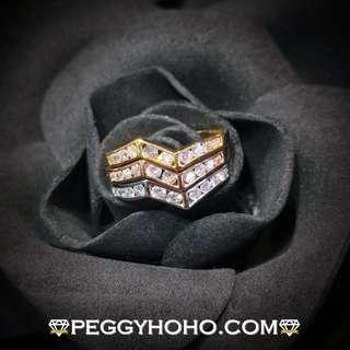 【Peggyhoho】全新18K三色金 75份鑽石套戒3隻戒指| 經典系列 | 靚石極閃