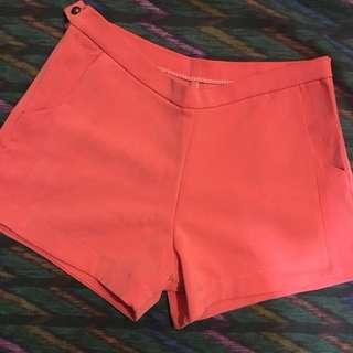 High waisted coral shorts
