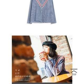 🚚 Queen shop 配色V型設計直條紋襯衫