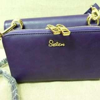 (全新) 深紫色三用sling bag clutch bag