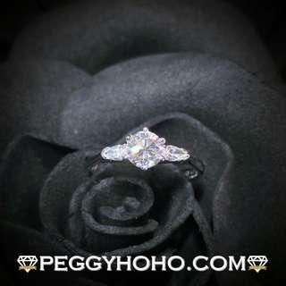 【Peggyhoho】 全新18K白金 ((單粒51份)) 閃爍鑽石配梨形小鑽共65份6爪戒指| 經典系列 |罕有梨鑽