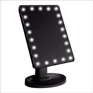SmartKids Fashion Adjustable LED Light Stand Makeup Mirror ABS Rotatable Touch Screen (Black)