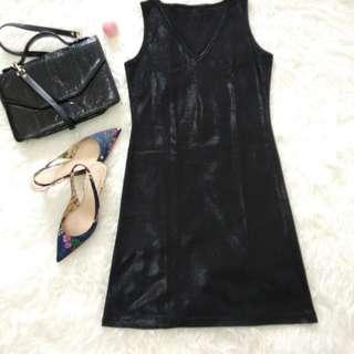 Black metalic dress faux leather