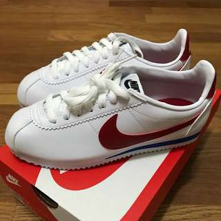 【全新正品】Nike Classic Cortez Leather 阿甘鞋 白底紅勾 23.5cm