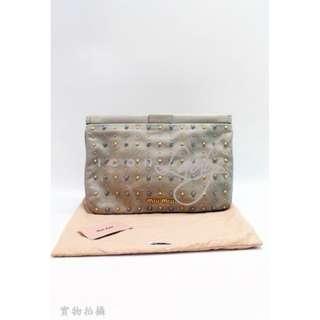 MIU MIU 5N1573 灰色皮革 窩釘 晚宴袋 手提袋