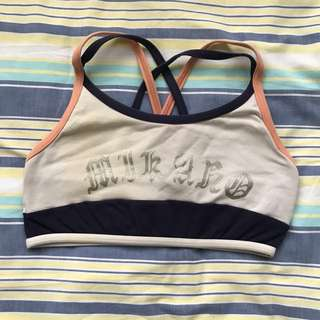 MIKANO peach & dark blue sports bra