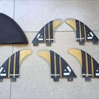 Brand New DORSAL Surfboard Surf Board Bamboo Carbon 5 Fin Set