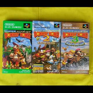 Super Famicom - Super Donkey Kong 1-3 Set (Original) Set