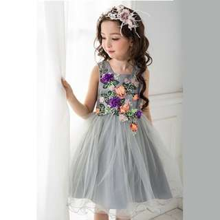 Elegant Dress Pageant Tulle Formal Party Dress Grey