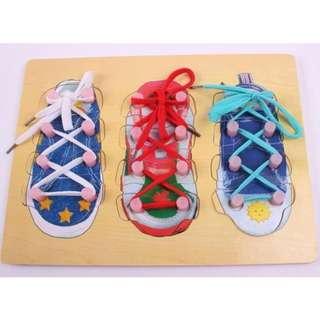 Educational Shoes,Kids Toy Learn How To Tie Shoelaces Shoes Lacing Wood Threading Board