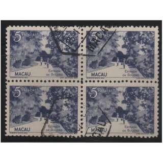 澳門 1948年 澳門風景郵票第一組五圓舊票四方連