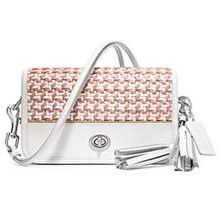 CANING LEATHER PENNY SHOULDER PURSE (COACH f23705) SILVER/CHALK/CORAL