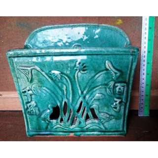 late Qing Dynasty Republic's green glaze chopstick tank, 清末-民国绿釉筷子筒