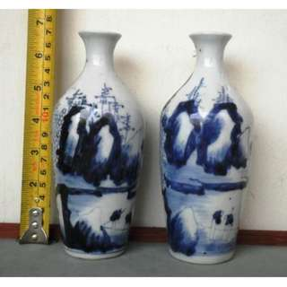 Old Blue and white landscape character bottle, 旧青花山水人物小瓶 High : 17 cm