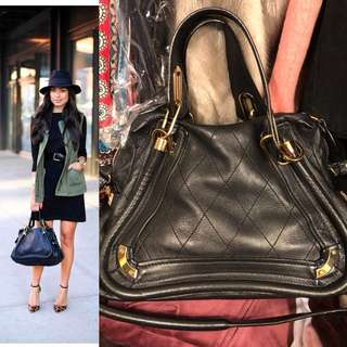 Chloe black with gold leather handbag