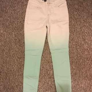 Forever 21 ombré mint/white denim jeans