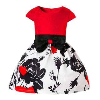Lovely Black Roses Girls Dress