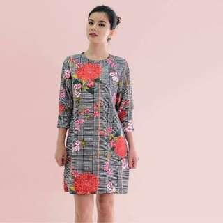 HTP Houndstooth Floral Dress