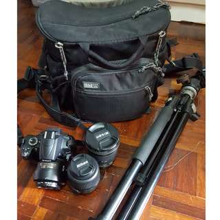 Pre-owned Nikon D5000 with kit lens + 35mm 1.8 + 12-24mm 1.4 g ed + Sb 700 speedlight +Think tank bag +Tripod.