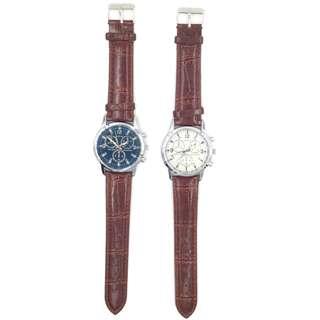 Dobroa 經典三圈休閒商務手錶潮流時尚皮帶腕錶 情人節 情侶裝