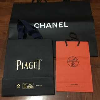 Chanel Hermes Piaget 名牌紙袋  Paper Bag 100% Real 95% New
