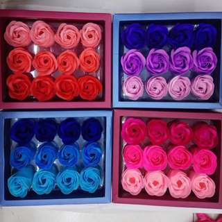 12 Pieces Soap Flowers Roses in a Box Valentines Gift Idea