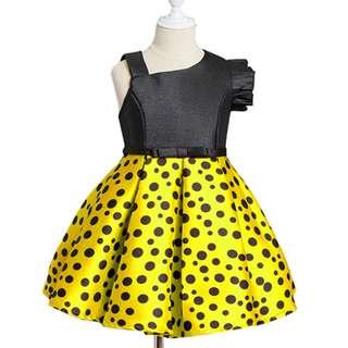 Girls Single Short Sleeve Retro Party Yellow Pokka Dot Dress