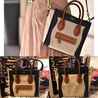 Celine brown and black canvas with leather nano small bag