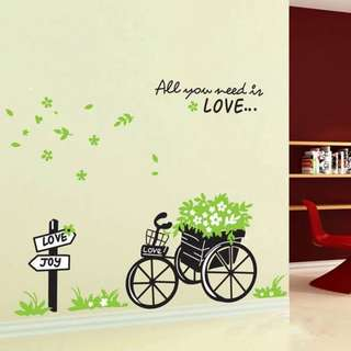 READY STOCK! Romantic Green Bicycle Removable Wall Poster