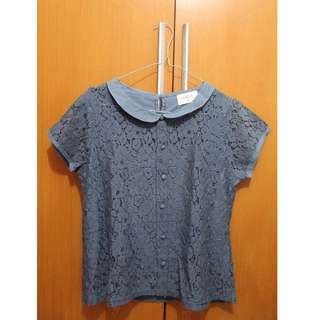 blue brocade top