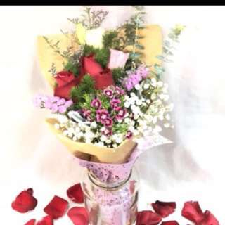 (PO) Side Rose Bouquet (Without vase)