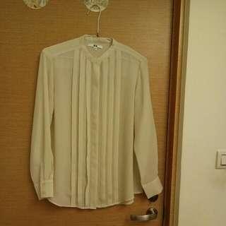uniqlo雪紡米白色襯衫