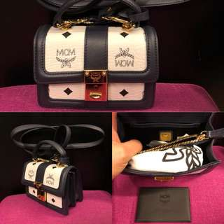 New MCM black and white small crossbody bag