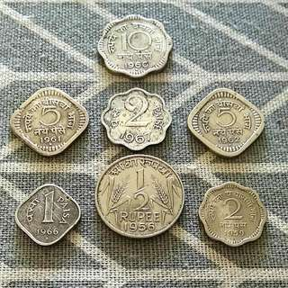 India Vintage Coins 7 pcs