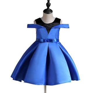 Girls Princess Strapless Shoulder Retro Party Wedding Dress Blue
