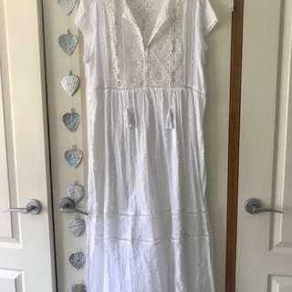 White Lace Insert Maxi Dress