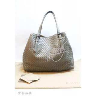BOTTEGA VENETA 272154 Nappa Tote 灰綠色小羊皮編織肩背袋 購物袋 手袋