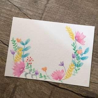 Watercolour hand drawn card
