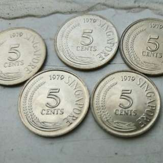 Singapore old 5 cents Coins