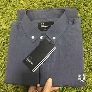 🆕 Fred Perry Denim Blue Short Sleeve Formal Shirt