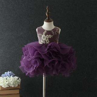 Cutie and Chic Sleeveless Tutu Evening Gown Dress Purple 1-6y