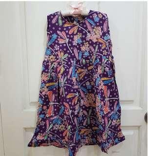 Girl's Dress Anak 4-5tahun Batik Ungu