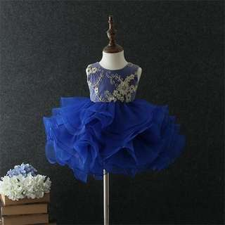 Cutie and Chic Sleeveless Tutu Evening Gown Dress Blue 1-6y