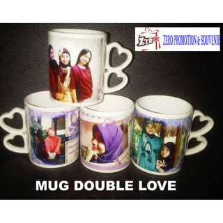 Mug gagang double Love - cetak mug digital printing