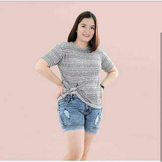 Grey Knit Knotted Tee