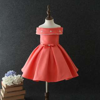 Luxury Crafted Patchwork Dress Orange 3-10y