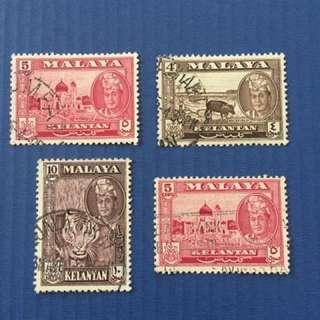 Malaya 1953 Kelantan Defi 4V used (M1093)
